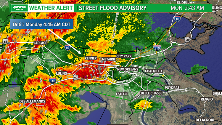 Street Flood Advisory issued for New Orleans Metro, Flash Flood Watch until Noon