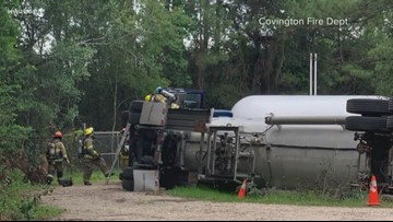 US 190 open after overturned propane truck near Covington High shuts down road