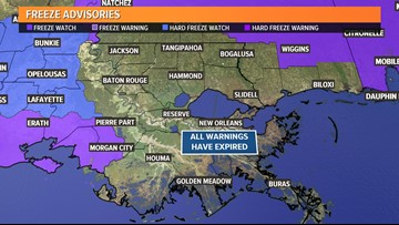 Freeze warnings expired for southeast Louisiana