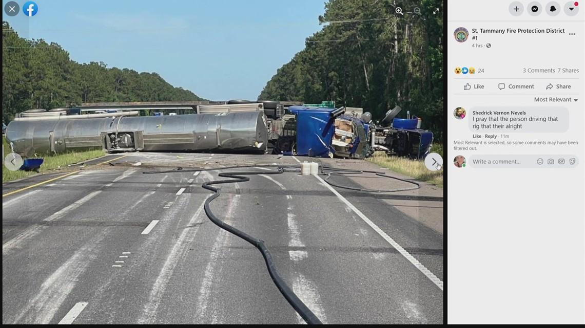 Overturned 18-wheeler shuts down I-12 East