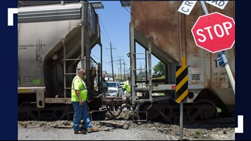 Train jumps tracks in Gretna, closing some streets - no injuries