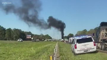 'Several' hurt in fiery crash on I-12 in Hammond, firefighters say