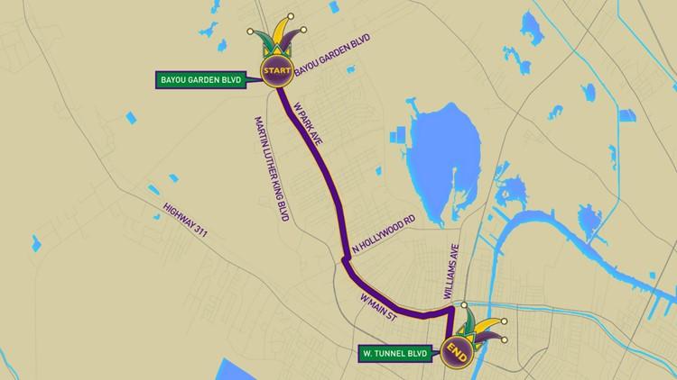 Krewe of Houmas parade route