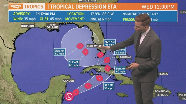 Friday noon Tropical Update: Eta will slow as it moves into the Gulf
