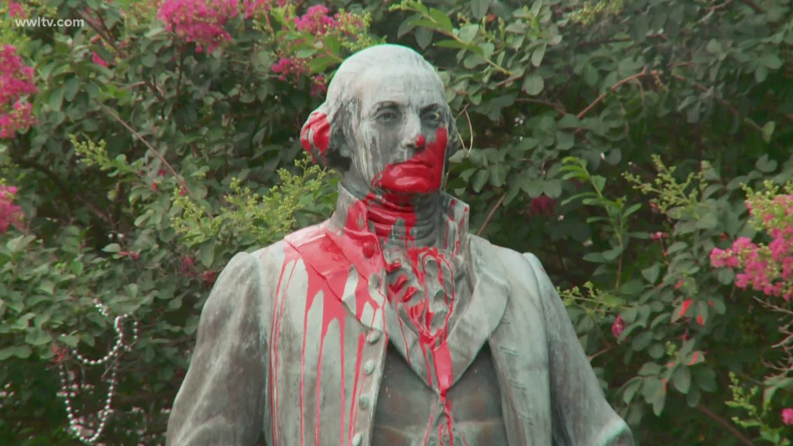 George Washington statue vandalized outside New Orleans library