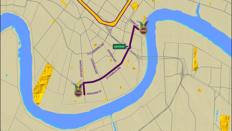 Krewe of Babylon parade route