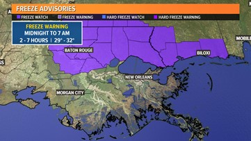 Freeze Warning issued for entire Northshore tonight