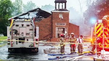 Cross missing from burned historic church in Louisiana