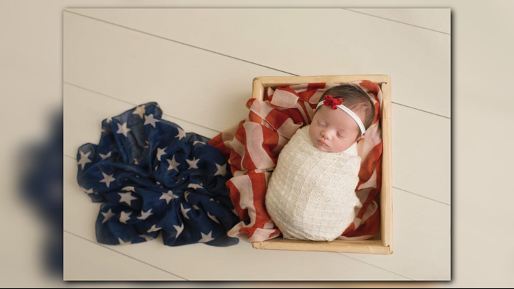 5cb7320eb Christian Michelle Harris was born on Saint Patrick's Day. She's pictured  with an American flag