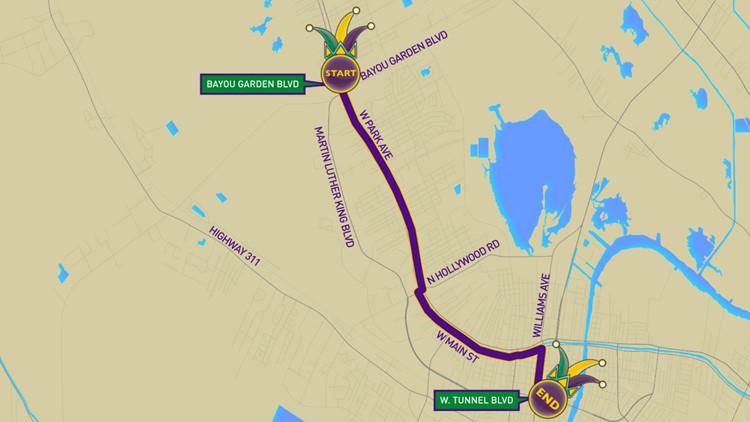Krewe of Cleopatra (Houma) parade route