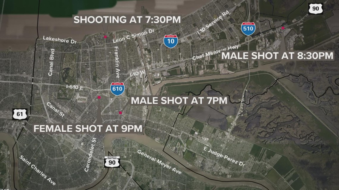 Six shootings reported within 12 hours in New Orleans, including two on the same street