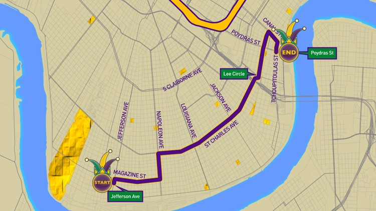 Krewe of Ancient Druids 2020 parade route