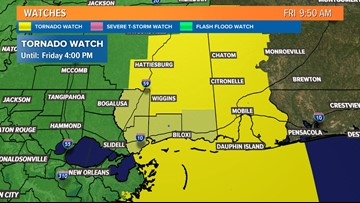Tornado Watch issued for southern Mississippi