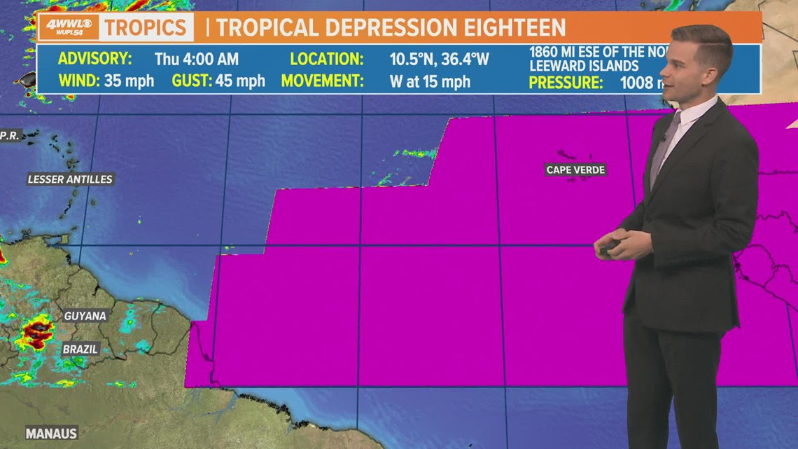 Thursday AM Update: Tropical Depression 18 forms, heads west across Atlantic