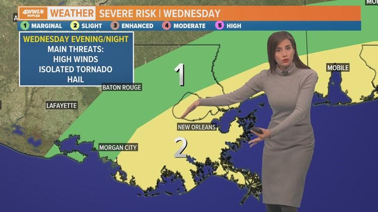 Slight risk of severe thunderstorms Wednesday in southeast Louisiana