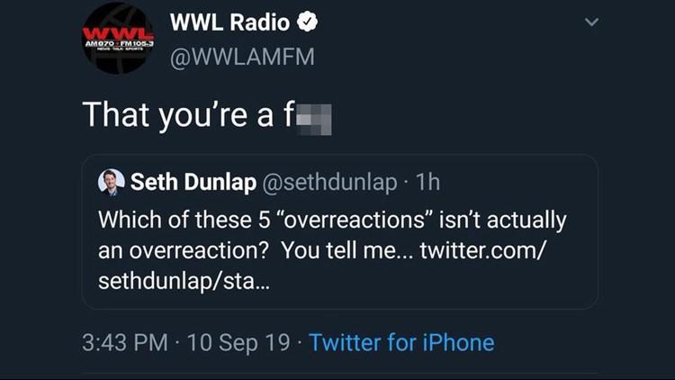 WWL Radio Tweet Dunlap