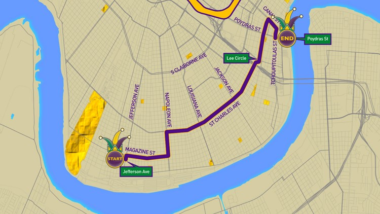 Krewe of Sparta 2020 parade route