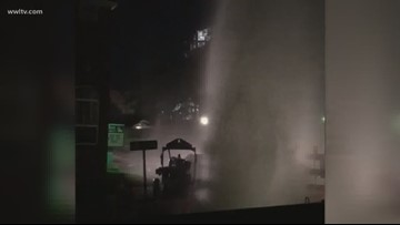 Geyser explodes from water leak across from S&WB power plant