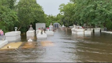 Tropical Storm Barry's waters flood cemetery in lower Lafitte