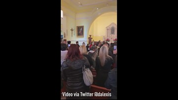 Saints secondline in church ahead of Sunday's game