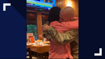 Army Reserves member from Gretna returns from training to surprise his mother