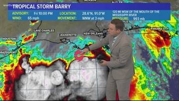 10 p.m. Barry track coordinates put storm west of New Orleans, still slow moving