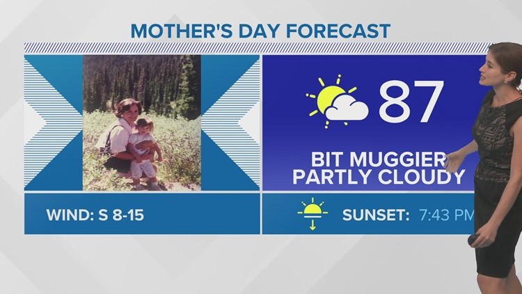 Warm and slightly muggier weather for Mother's Day