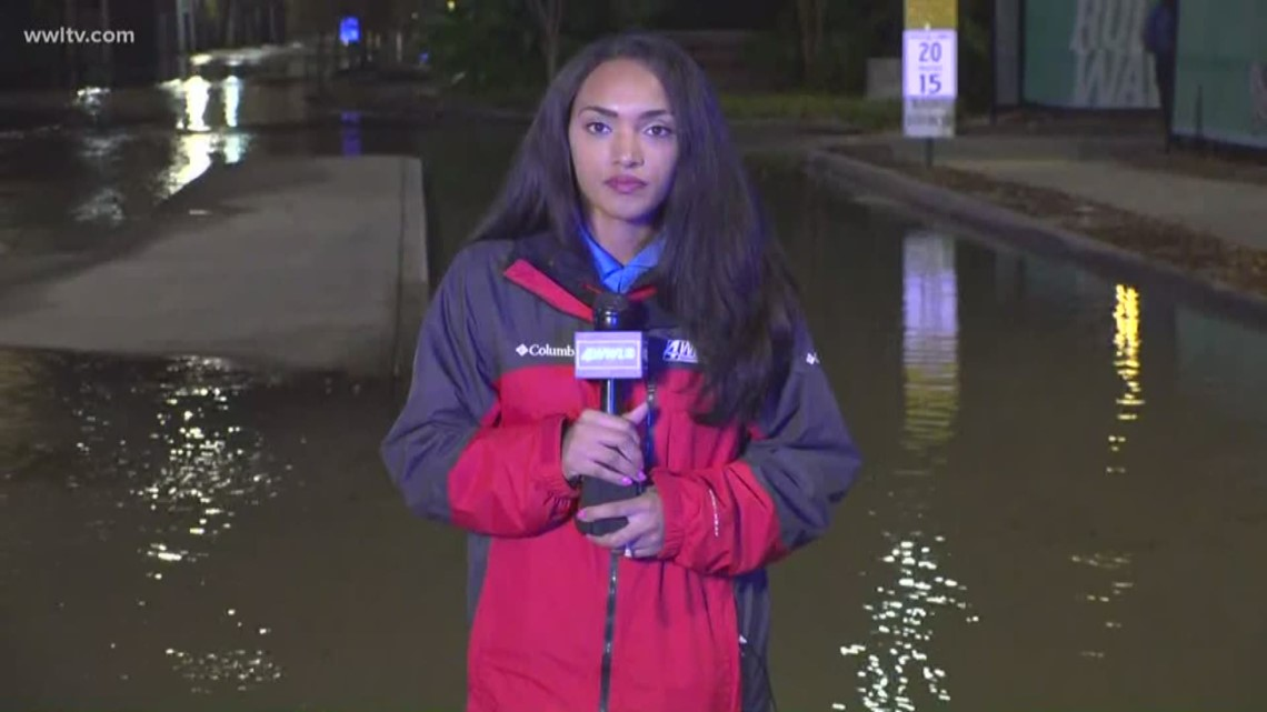Rushing water turns streets into a river near Tulane University
