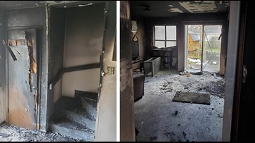 Two police officers ran into burning apartment to rescue woman