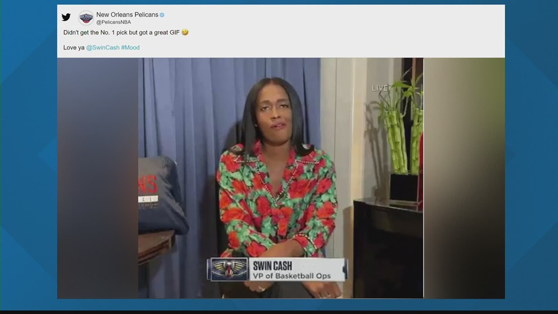 Swin Cash steals the show at NBA Draft Lottery with meme-worthy reaction