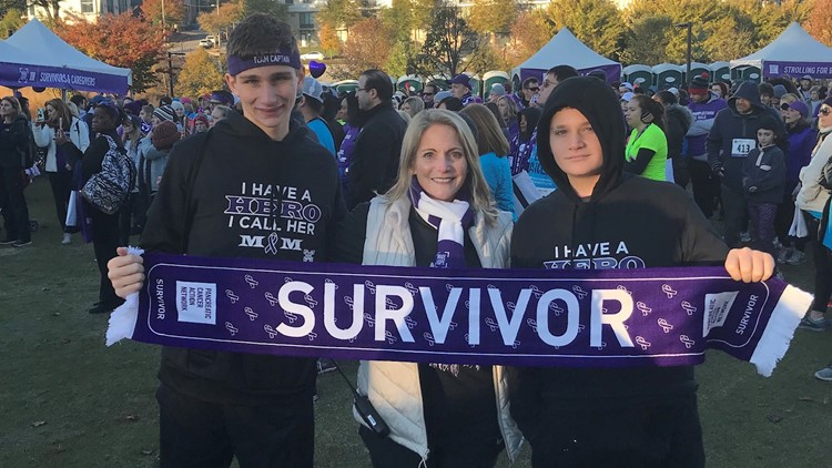 Elise Roth Tedeschi and her sons at Atlanta PurpleStride